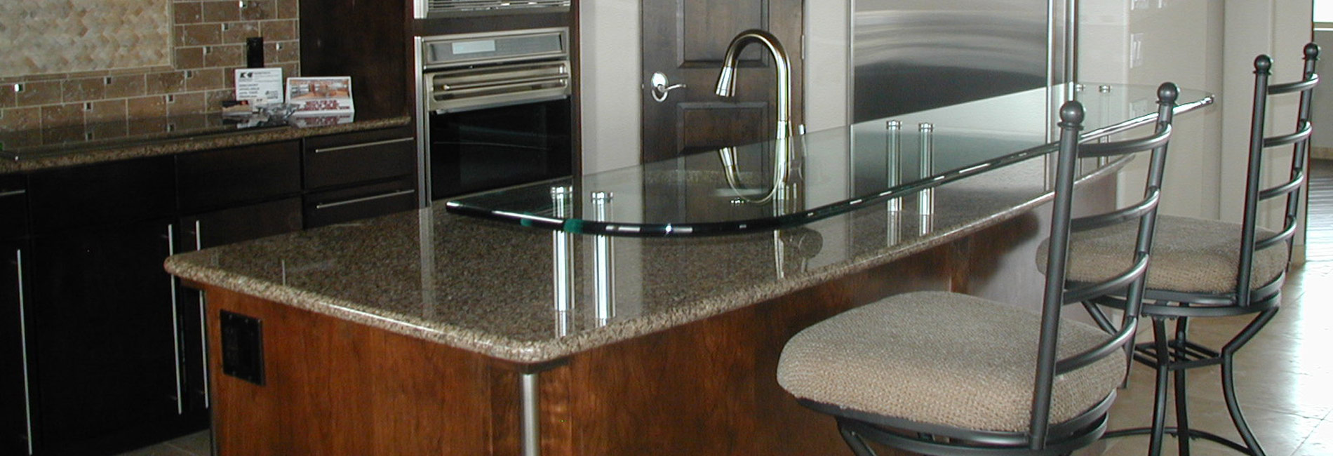kitchen island with glass top